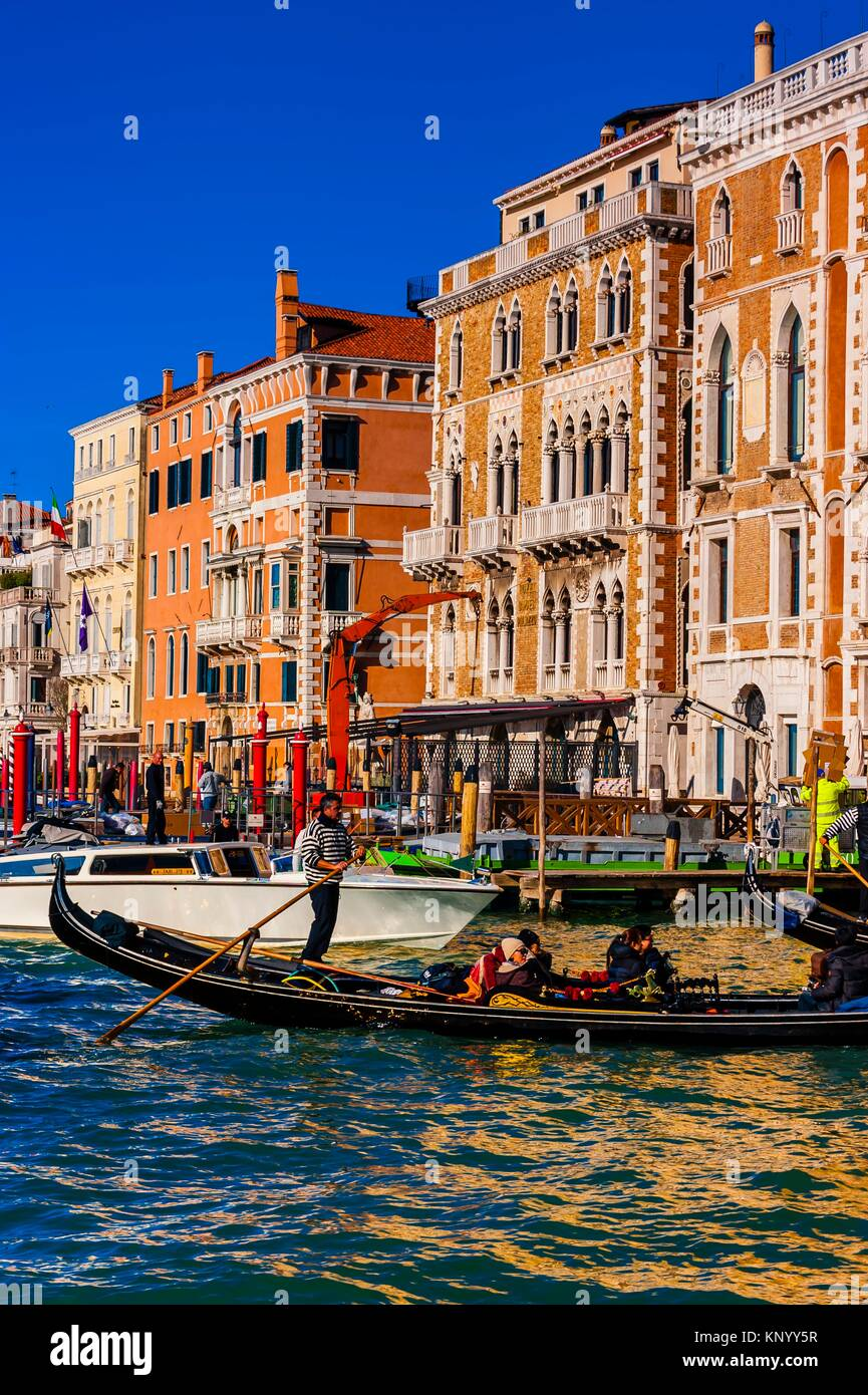 Gondolier, Grand Canal, Venice, Italy. - Stock Image