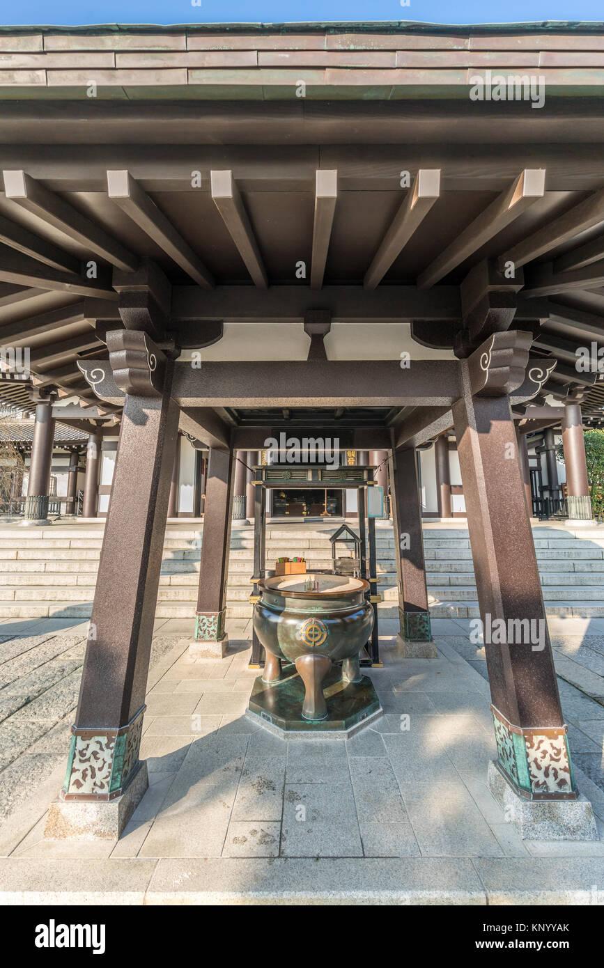 Haze-dera temple or Hase-kannon temple. Kannon-Do hall. Incense Burner (Jokoro) Located in Kamakura, Kanagawa Prefecture, - Stock Image