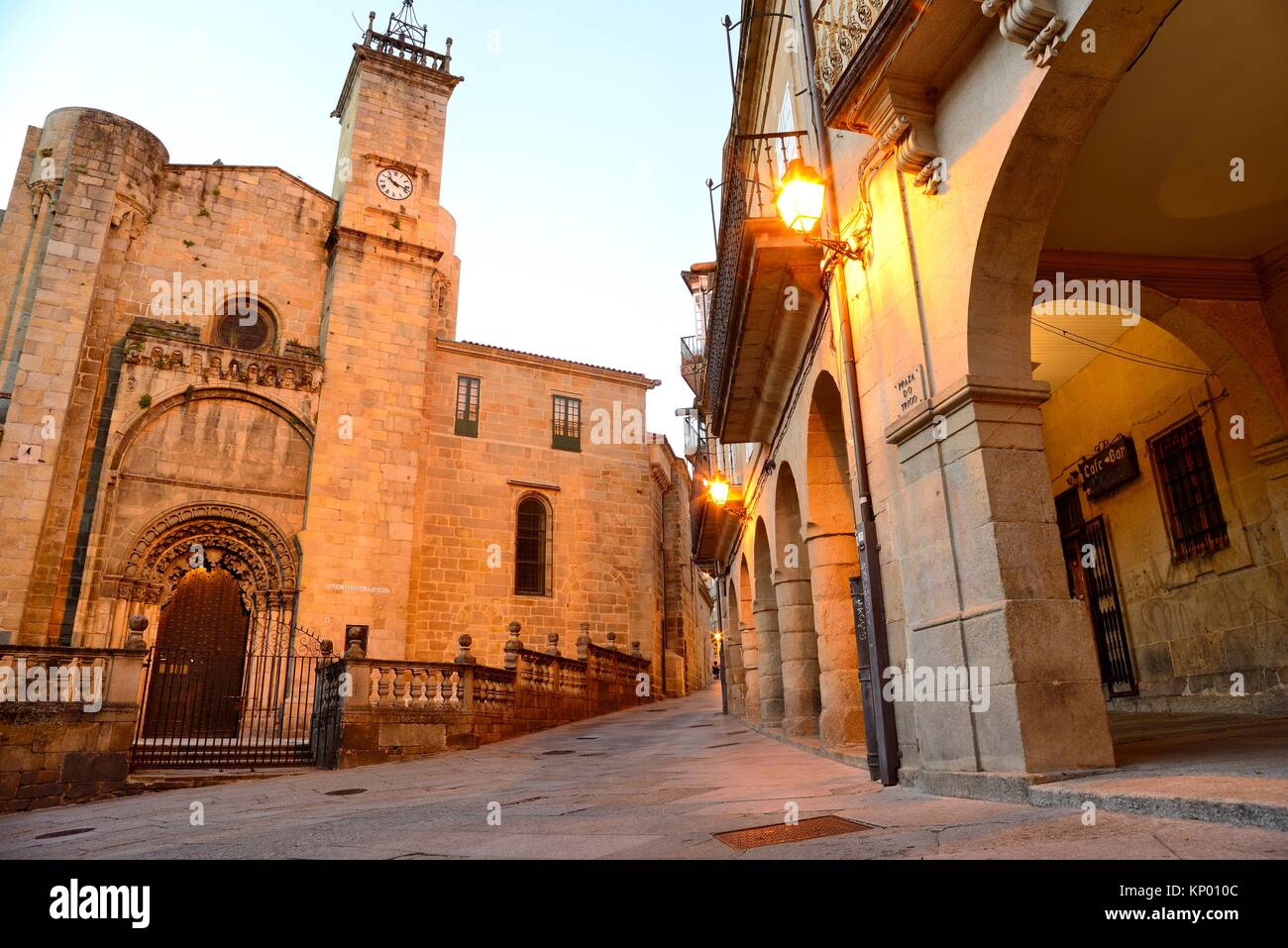 Cathedral of San Martin of Orense from Trigo square, Orense, Spain - Stock Image