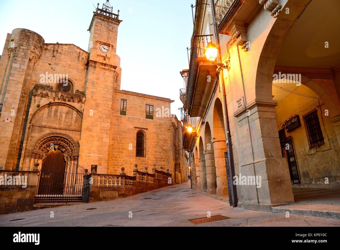 Cathedral of San Martin of Orense from Trigo square, Orense, Spain Stock Photo