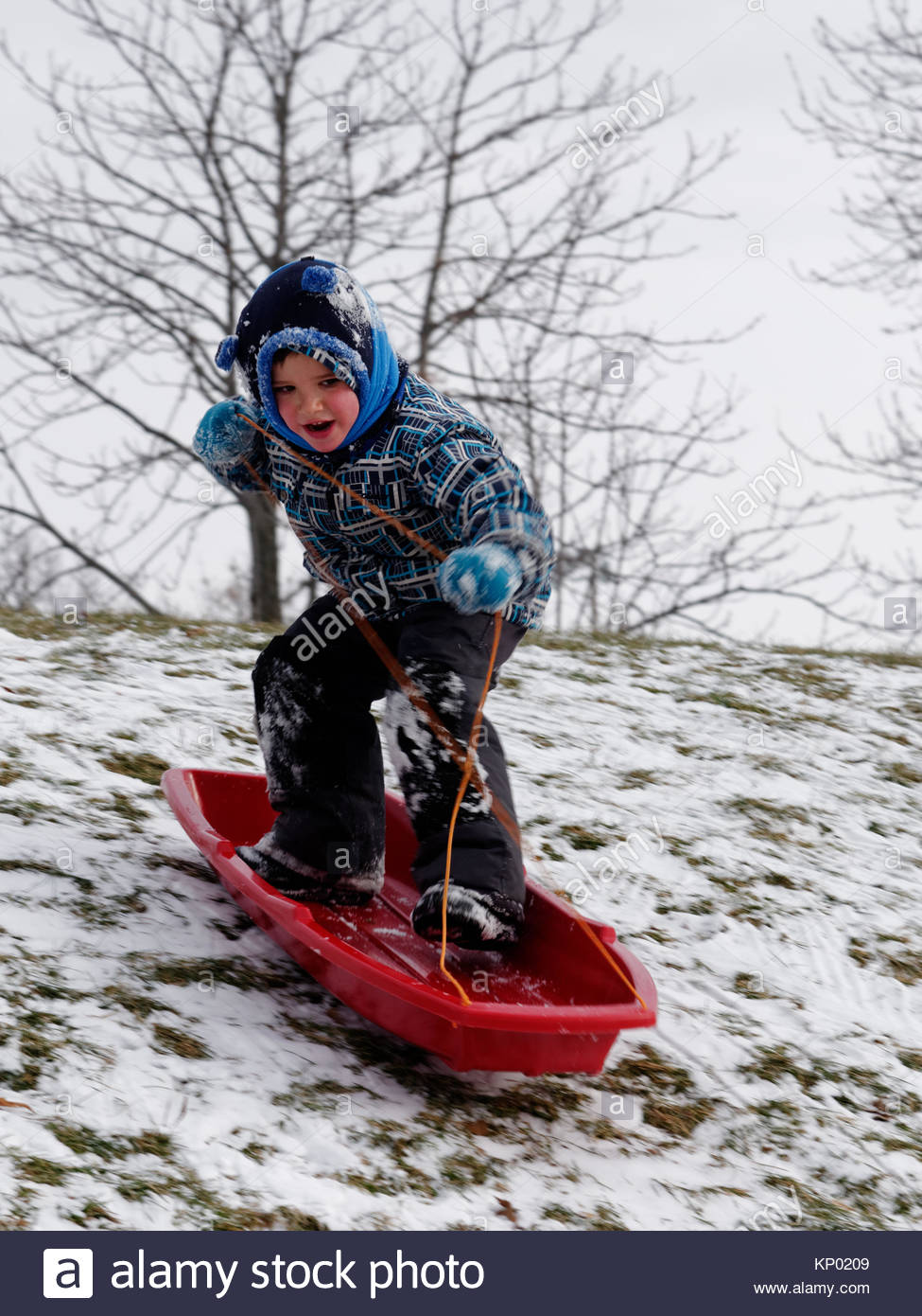 A little boy (5 yr old) snowboarding by standing in his sledge going down a slope. - Stock Image