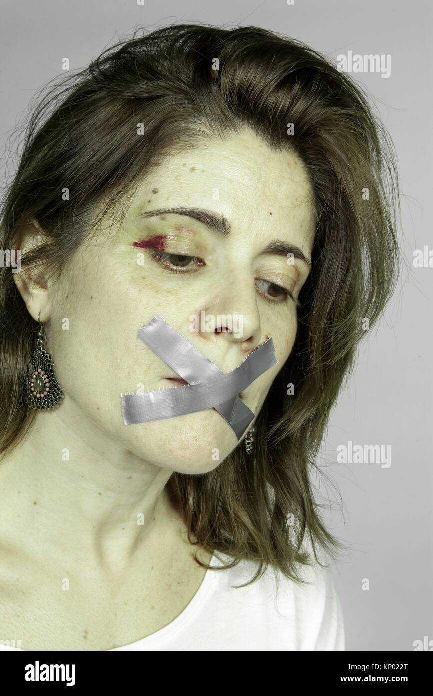 silence of a battered woman - Stock Image