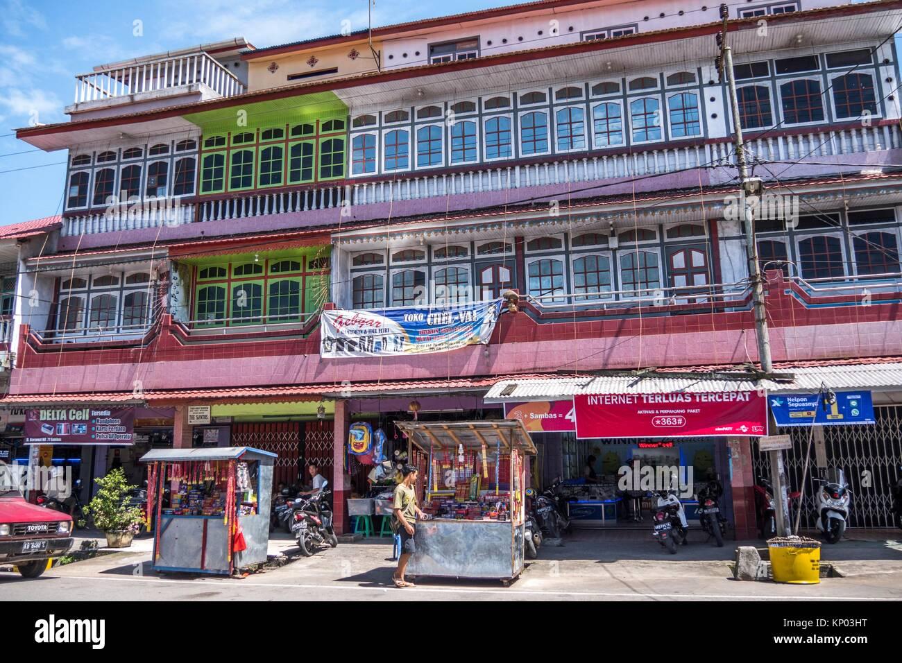 Shophouses in Sambas, West Kalimantan, Indonesia - Stock Image