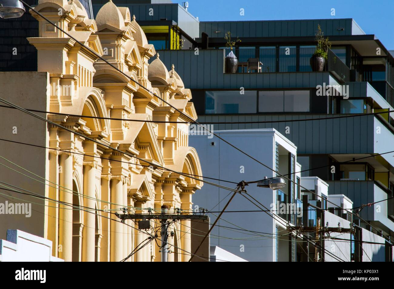 Old Post Office building and new apartment block, Smith Street, Collingwood, Melbourne, Victoria, Australia Stock Photo
