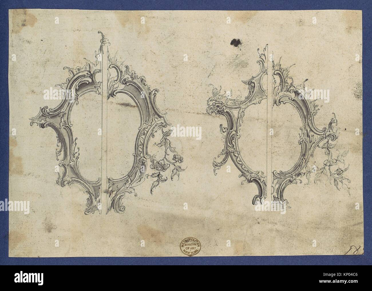 Shields for Pediments, in Chippendale Drawings, Vol. I. Artist: Thomas Chippendale (British, baptised Otley, West - Stock Image