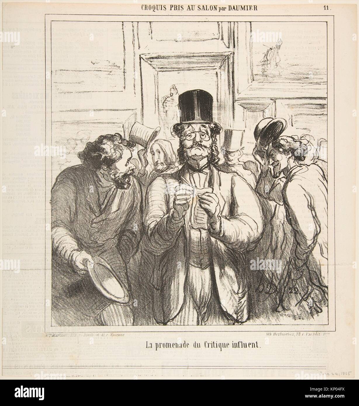 Walk-through of an Influential Critic (La Promenade du Critique Influent). Artist: Honoré Daumier (French, - Stock Image