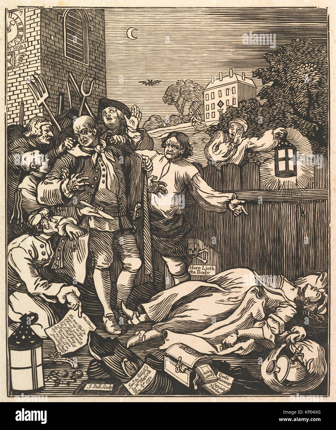 Cruelty in Perfection. Printmaker: J. Bell (British, active 1721-80); Artist: After William Hogarth (British, London - Stock Image