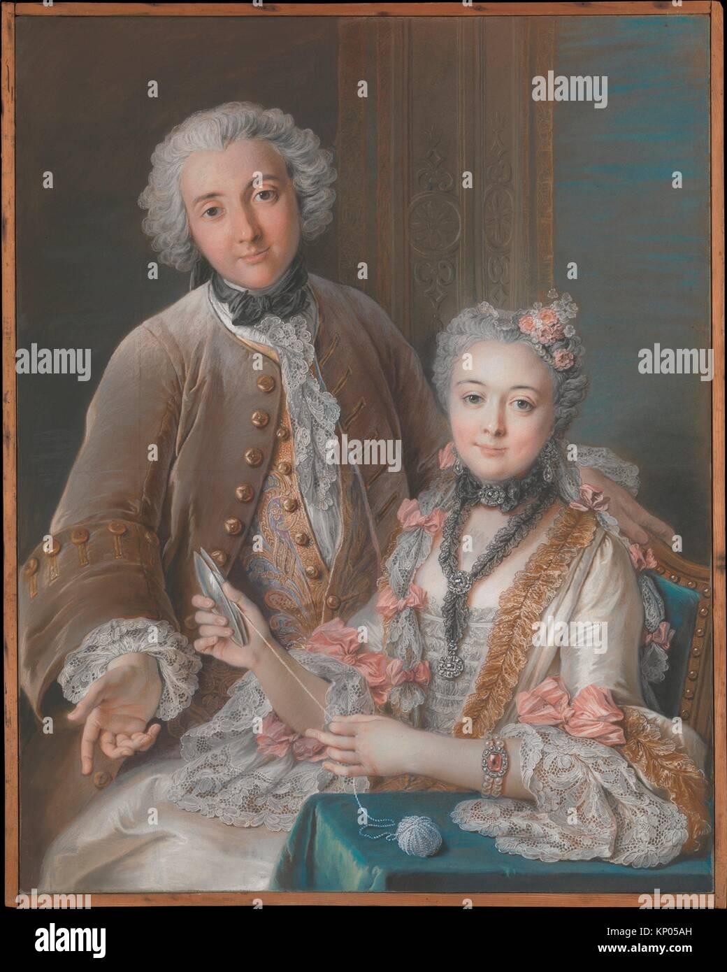 Double Portrait Presumed to Represent François de Jullienne (1722-1754) and His Wife (Marie Élisabeth - Stock Image