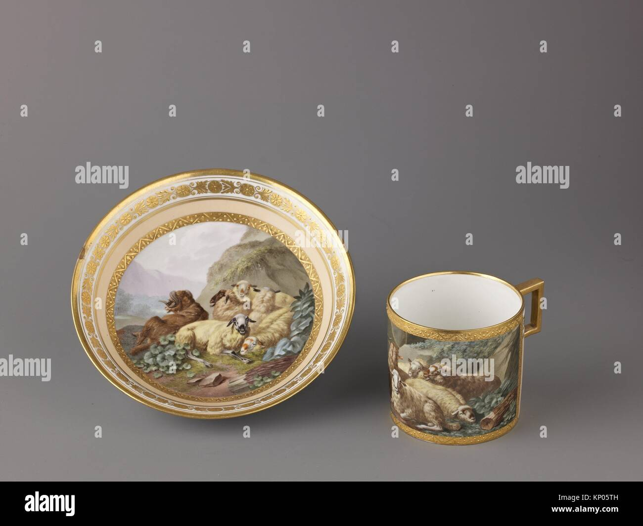 Cup and saucer. Date: ca. 1799; Culture: Austrian, Vienna; Medium: Hard-paste porcelain; Dimensions: Cup: h. 6 cm; - Stock Image