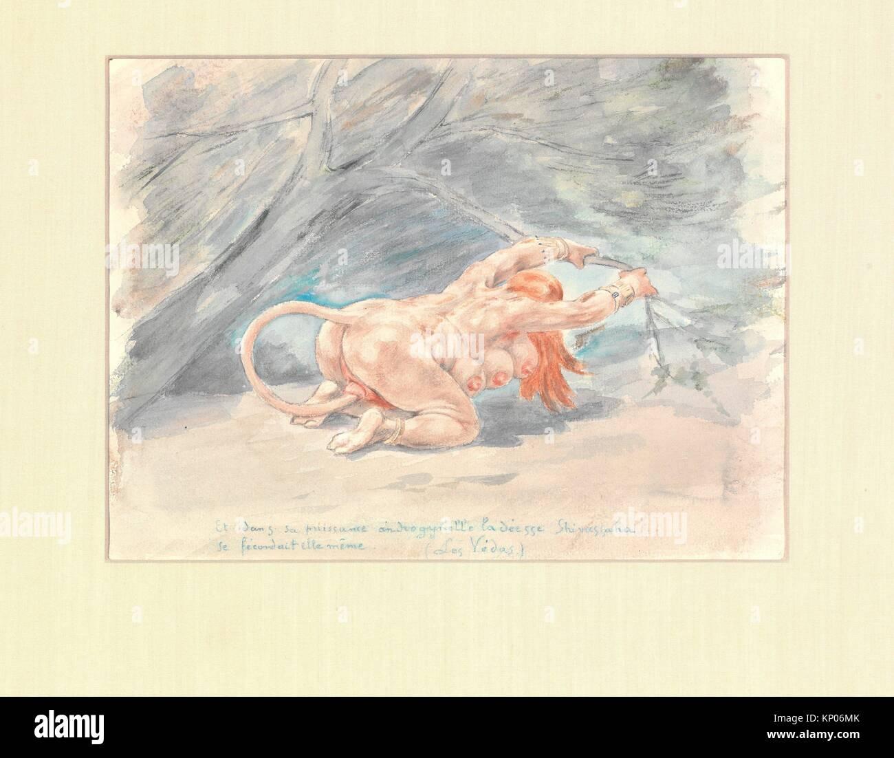 Untitled. Artist: Félicien Rops (Belgian, Namur 1833-1898 Essonnes); Medium: Watercolor and colored pencil - Stock Image