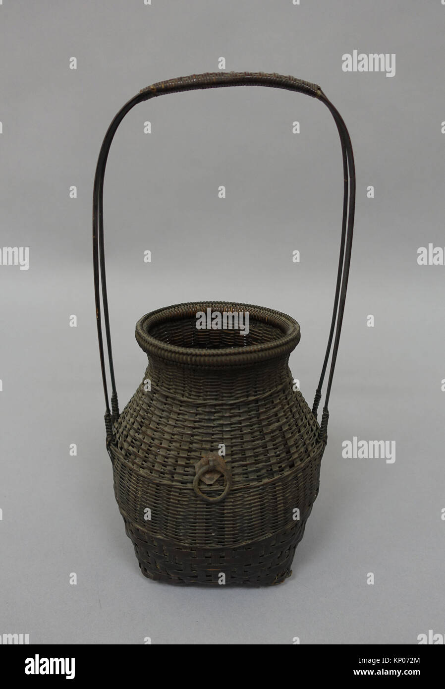 Basket. Date: 19th century; Culture: Japan; Medium: Bamboo; Dimensions: H. (without handle) 7 in. (17.8cm); Classification: - Stock Image