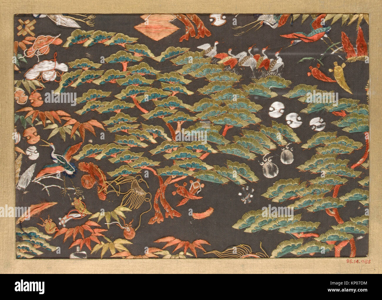 Textile fragment with pattern of pine, cranes, and auspicious symbols. Period: Edo (1615-1868); Date: 18th-19th - Stock Image