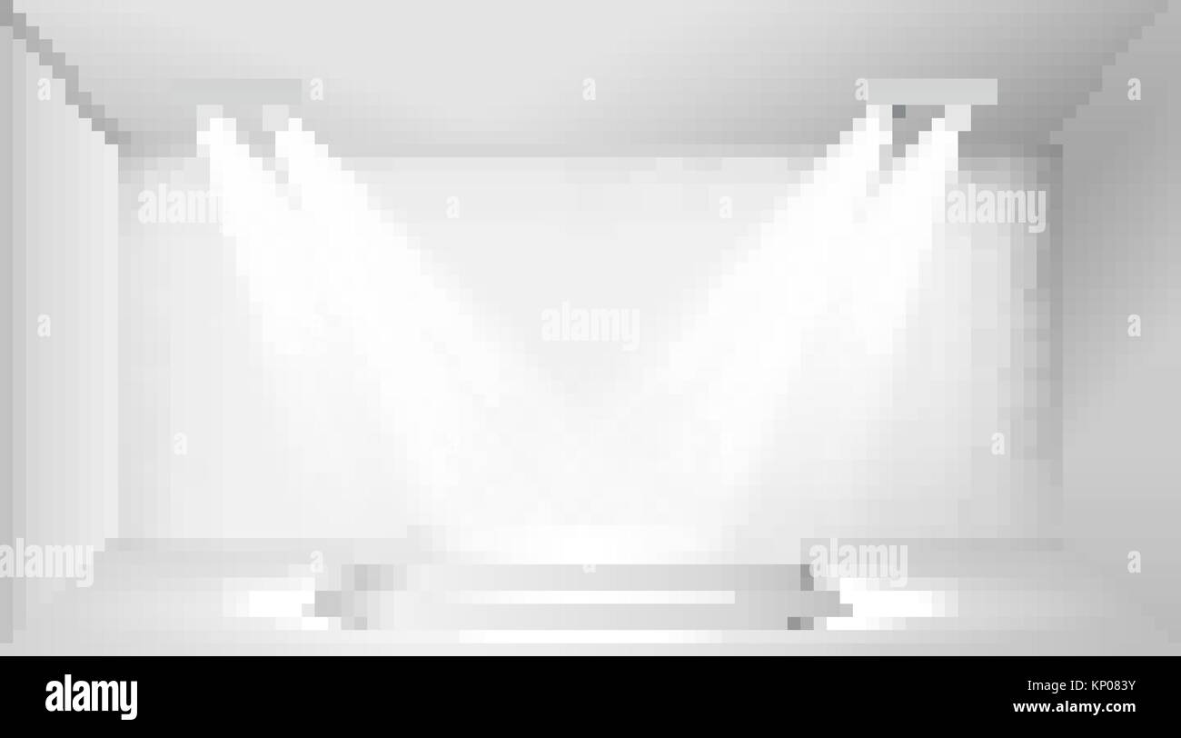 Scene with spotlights. Four lamp illuminate the two podium steps. Vector - Stock Image