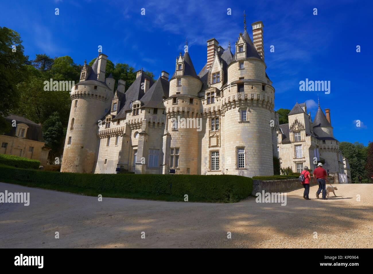 Rigny-Usse, Castle, Chateau de Usse, Usse Castle, Indre-et-Loire, Cycling Itinerary, Pays de la Loire, Loire Valley, - Stock Image