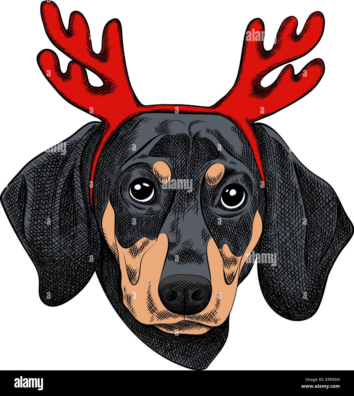 38a00325b86 Vector illustration of a Dachshund dog for a Christmas card. Dachshund with  horns of reindeer.