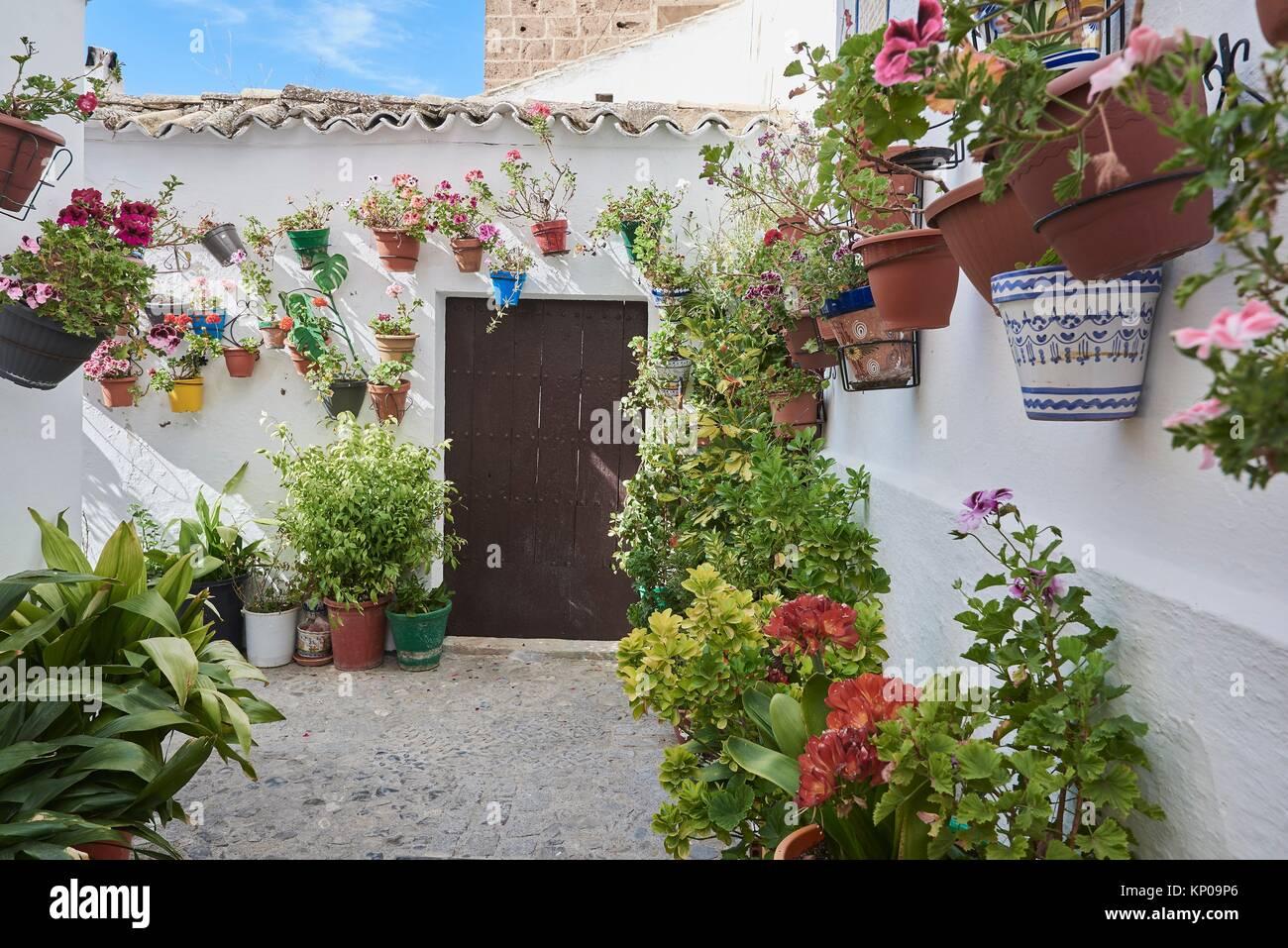 Flowerpots in Barrio de la Villa (old quarter), Priego de Cordoba, Sierra de la Subbetica, Route of the Caliphate, Stock Photo
