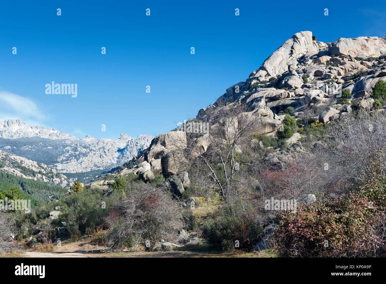 Sirio cliffs in the Pedriza. Regional Park del Ato Manzanares. Manzanares el Real. Madrid. Spain. Europe. Stock Photo