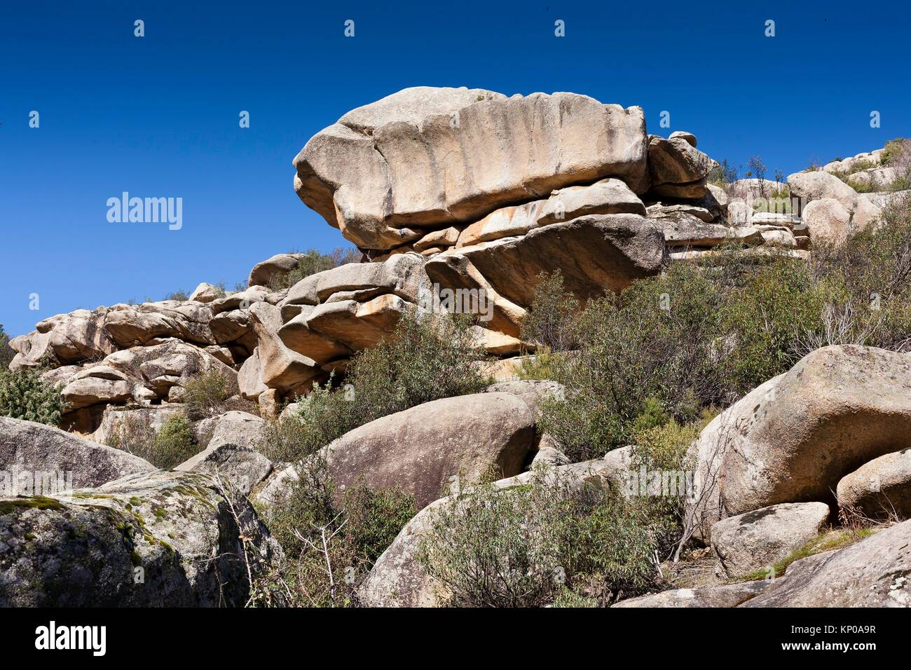 The Tranco cliffs in the Pedriza. Regional Park del Ato Manzanares. Manzanares el Real. Madrid. Spain. Europe. Stock Photo