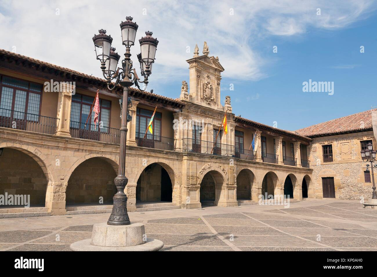 Twon Hall in Mayor square. Santo Domingo de la Zalzada. La Rioja. Spain. - Stock Image
