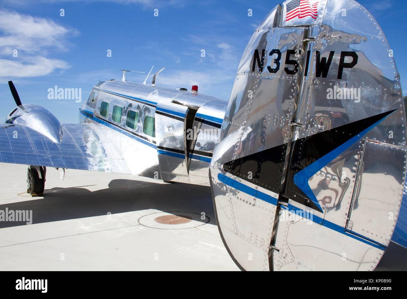 A Beechcraft 18 plane at an airshow in Spokane Valley, Washington, USA. - Stock Image