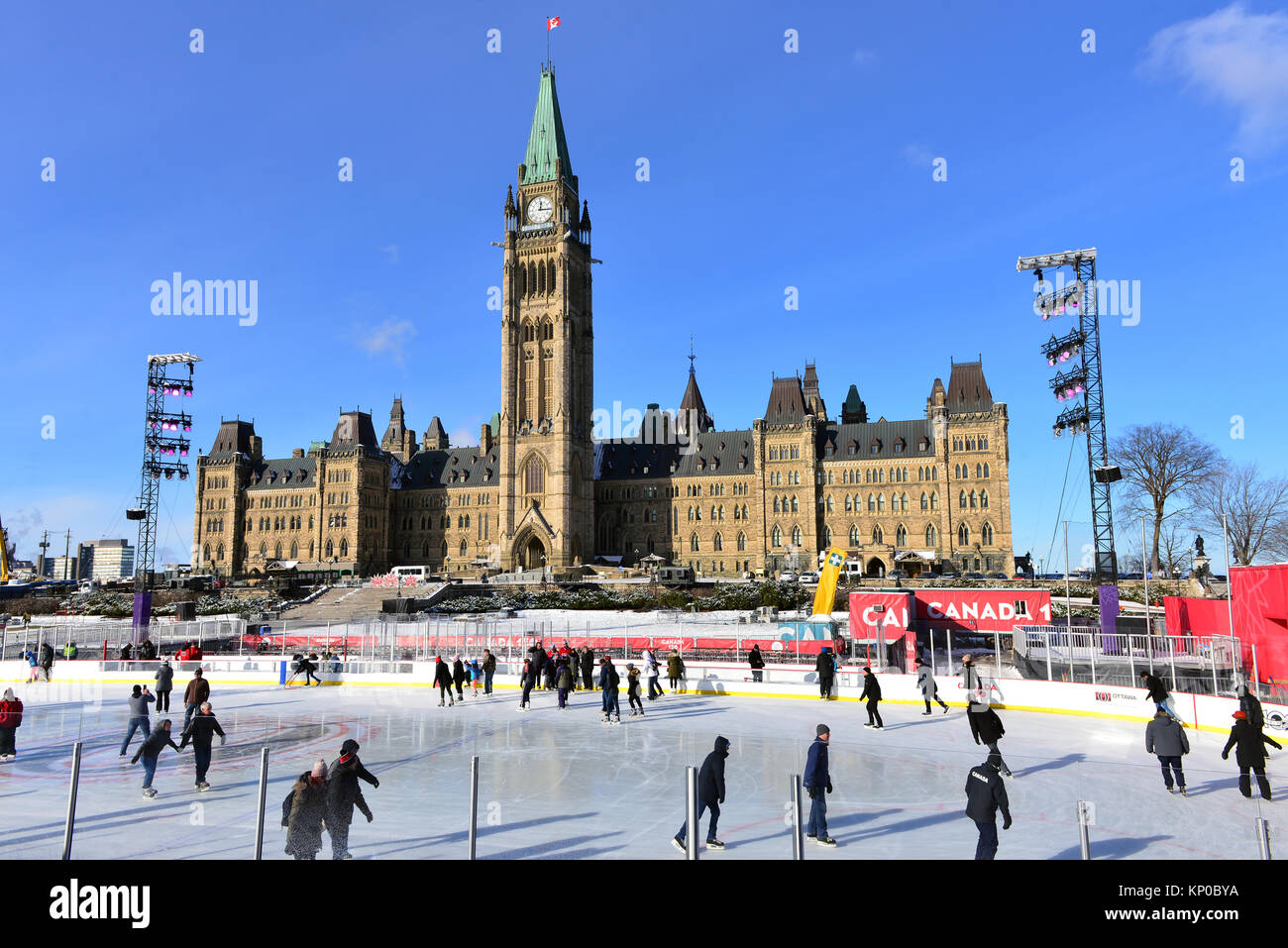Ottawa, Canada - December 11, 2017:  The temporary skating rink erected on Parliament Hill as part of the Canadian - Stock Image