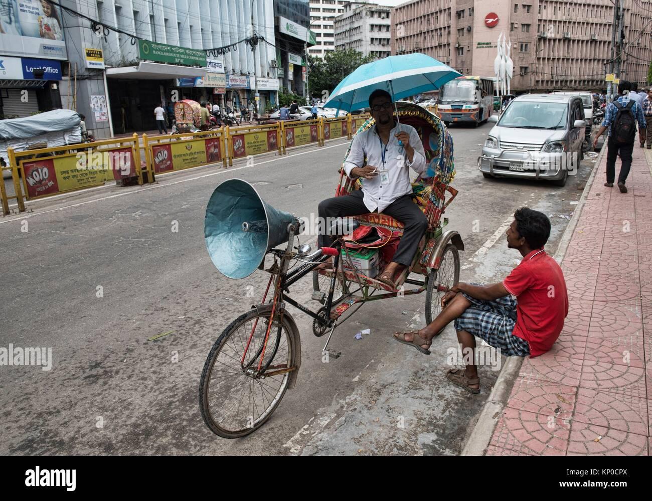 Rickshaws are the only way to get around in Old Dhaka, Bangladesh. - Stock Image