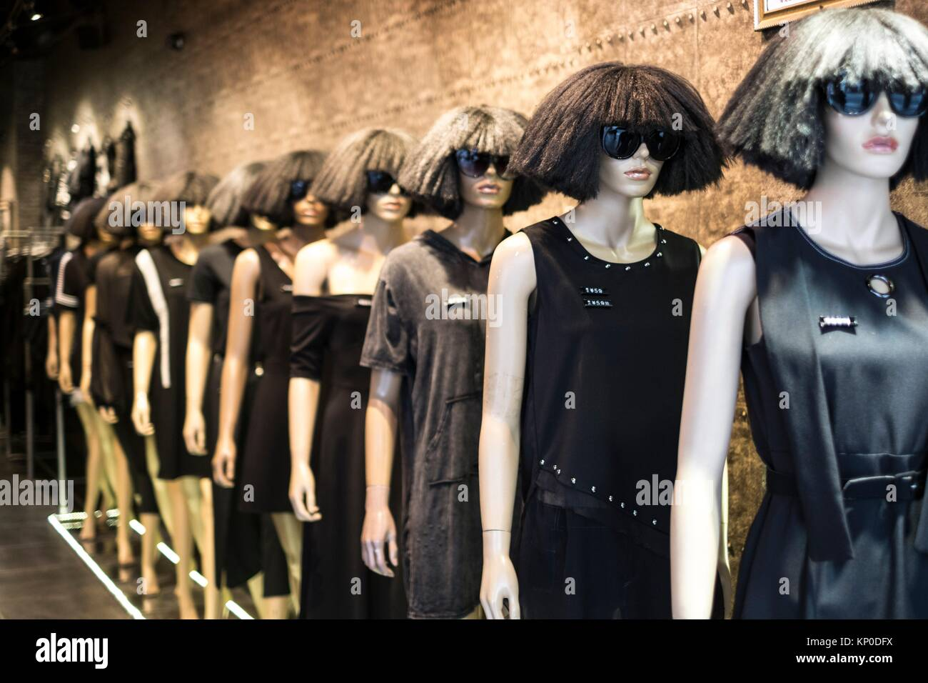 Mannequins with latest fashion on display in Guangzhou, China. - Stock Image