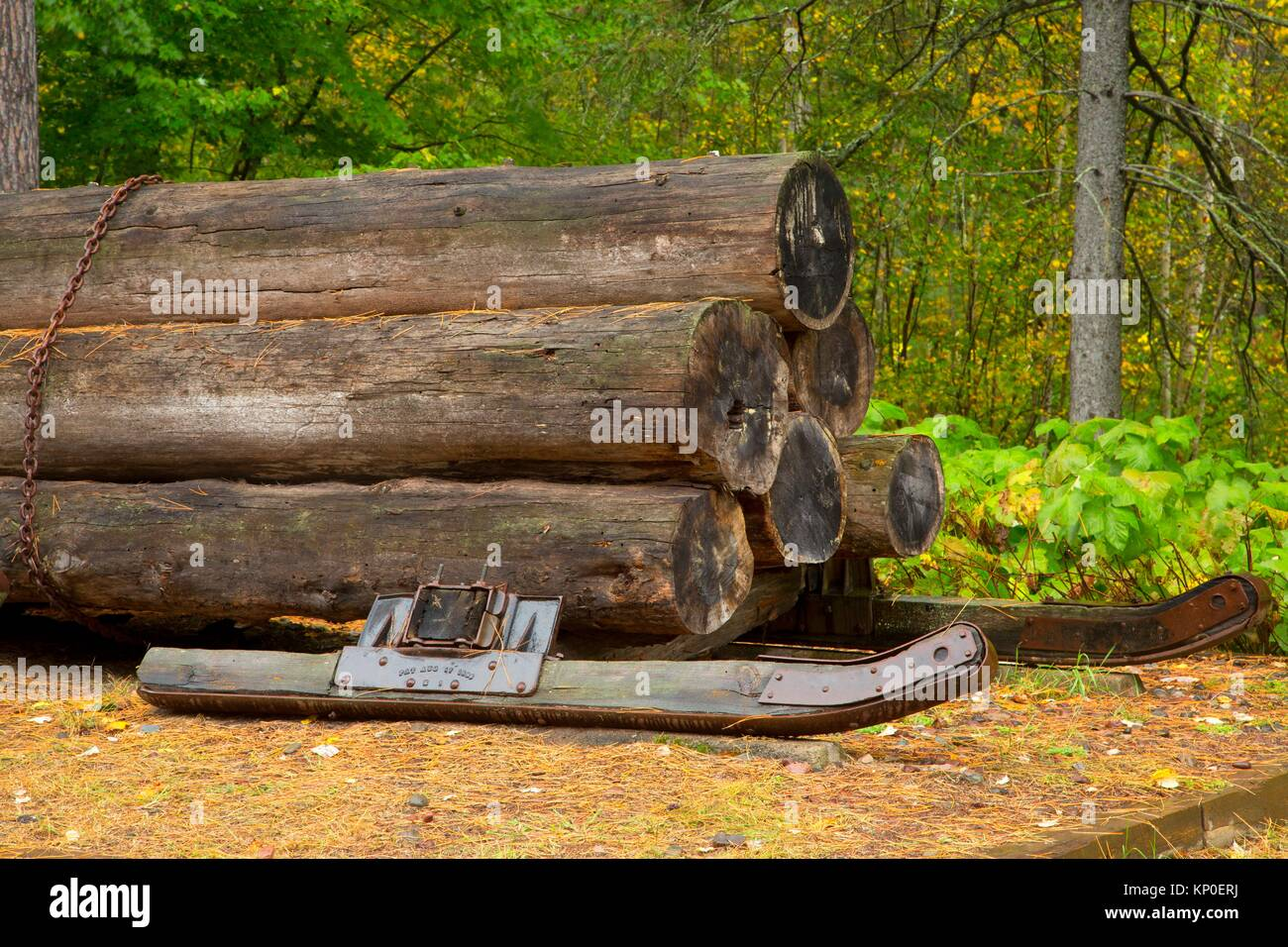 Log sled, Brule River State Forest, Wisconsin. - Stock Image