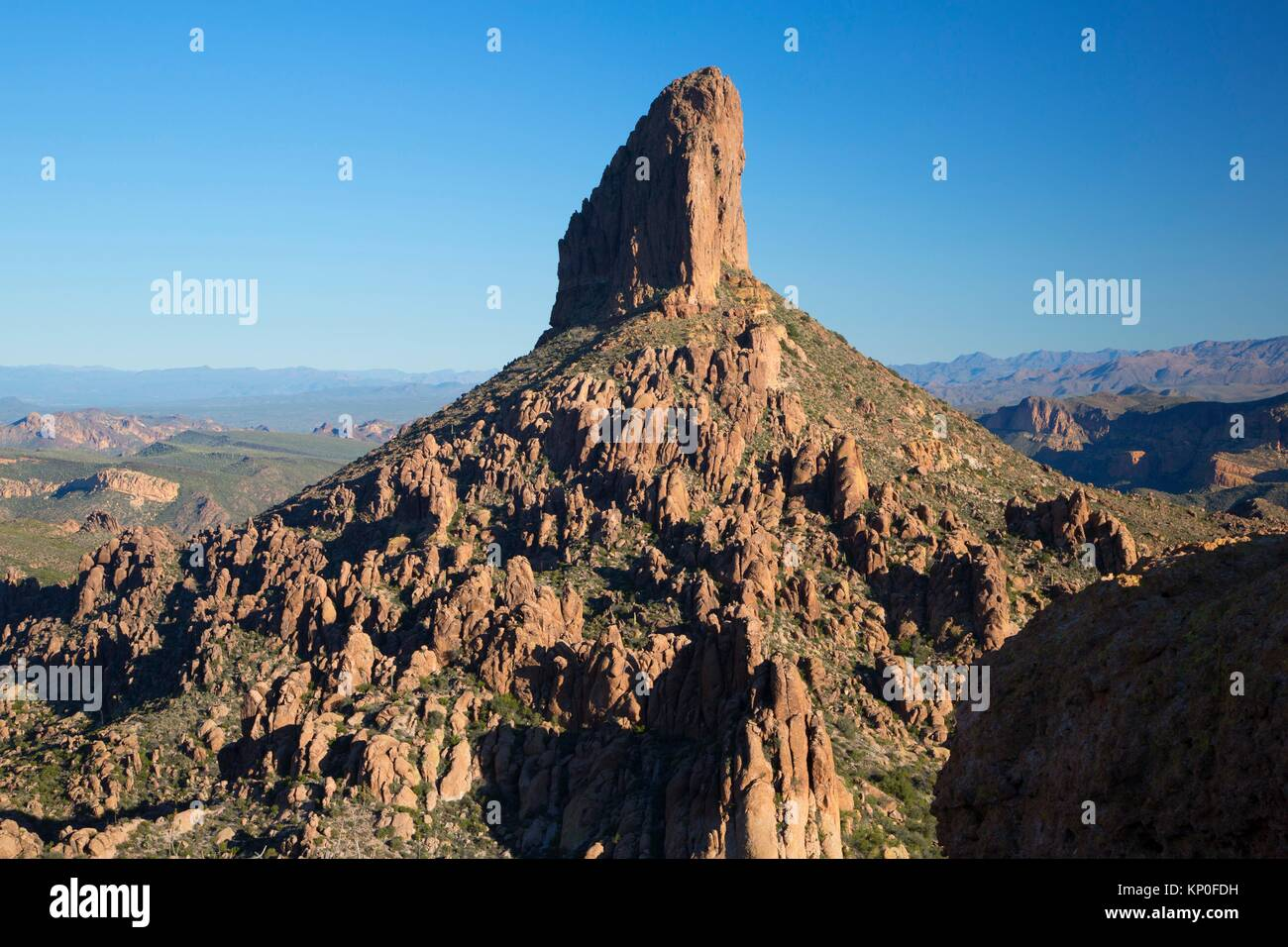 Weavers Needle from Peralta Trail, Superstition Wilderness, Tonto National Forest, Arizona. - Stock Image