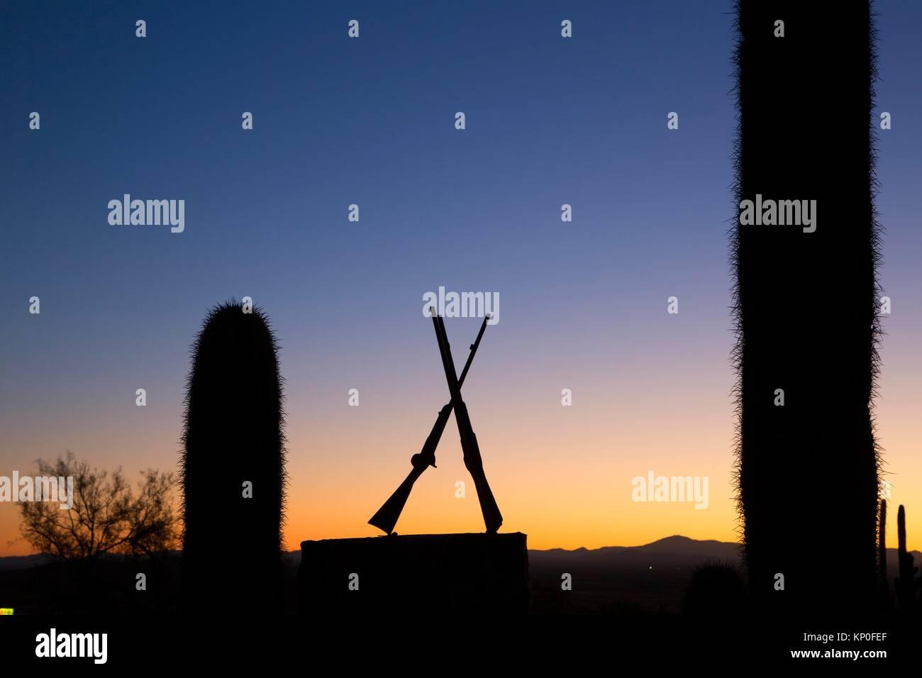 Morman Battalion monument dawn, Picacho Peak State Park, Arizona. - Stock Image