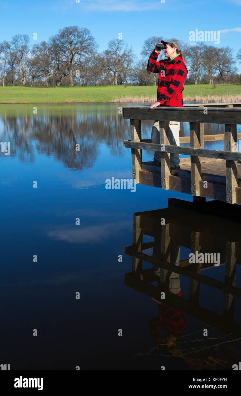 Bass Pond fishing dock, Sacramento River Bend Area of Critical Environmental Concern, Paynes Creek Wildlife Area, - Stock Image