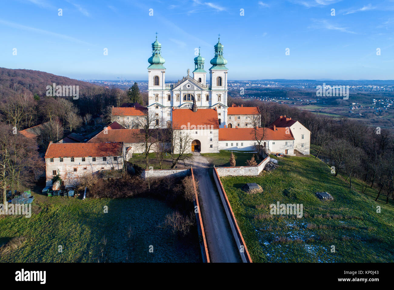 Krakow, Poland. Monastery of cameldolite brothers and baroque church in the wood on the hill in Bielany near Tyniec. - Stock Image