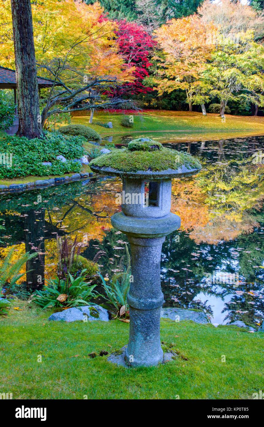 Stone lantern and pond, Nitobe Memorial Garden, a traditional Japanese garden UBC, Vancouver, British Columbia, Canada