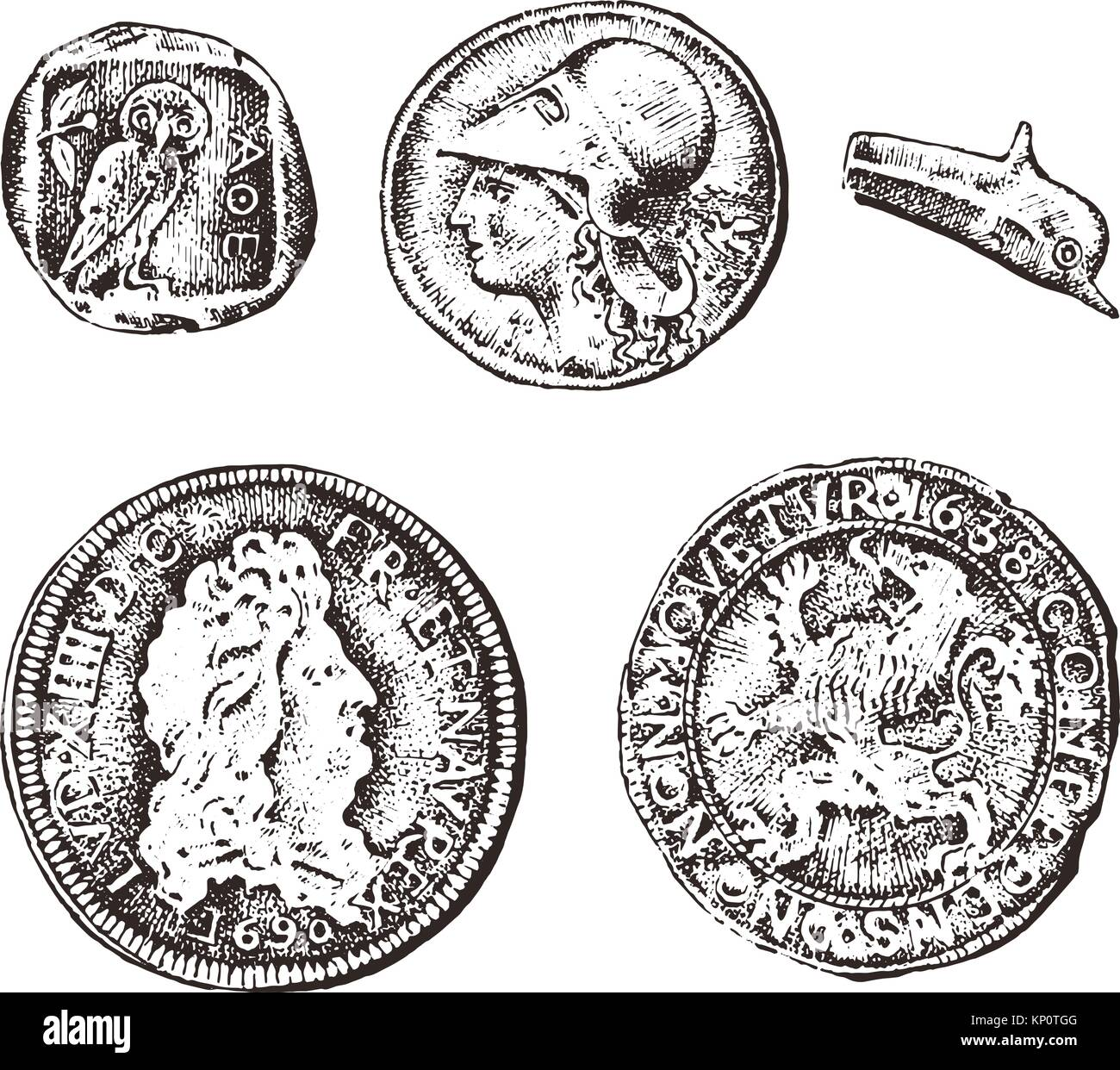 ancient coins or gold and silver money  roman and greek cash