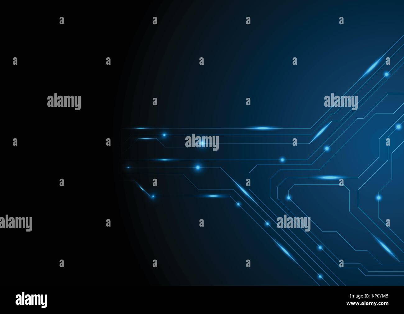 Dark Blue Glowing Circuit Board Tech Background. Vector Technology Digital  Design