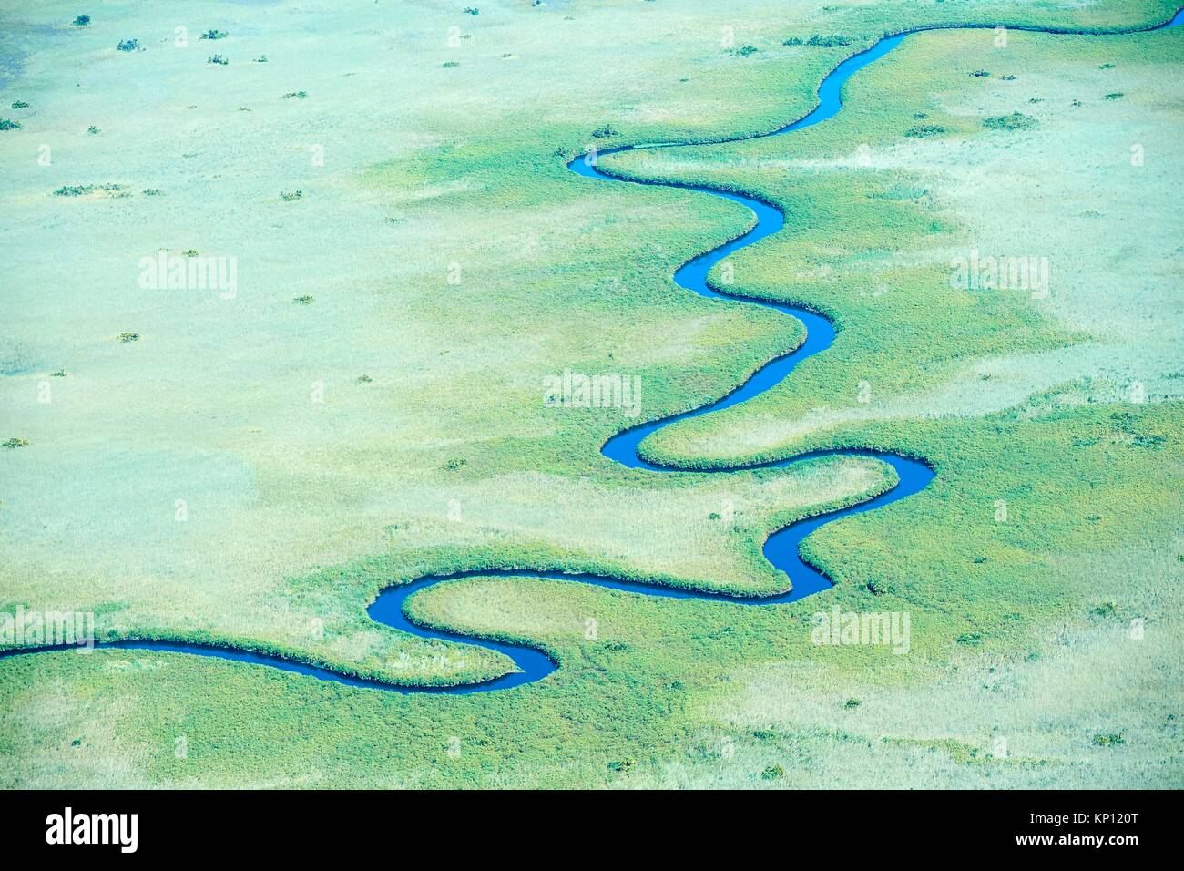 Aerial view of meandering Ngoga channel, Okavango delta, Botswana, Africa. - Stock Image