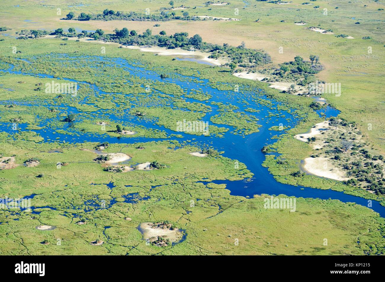 Aerial view of the Okavango delta with channels, lagoons, swamps and islands, Botswana, Africa. - Stock Image