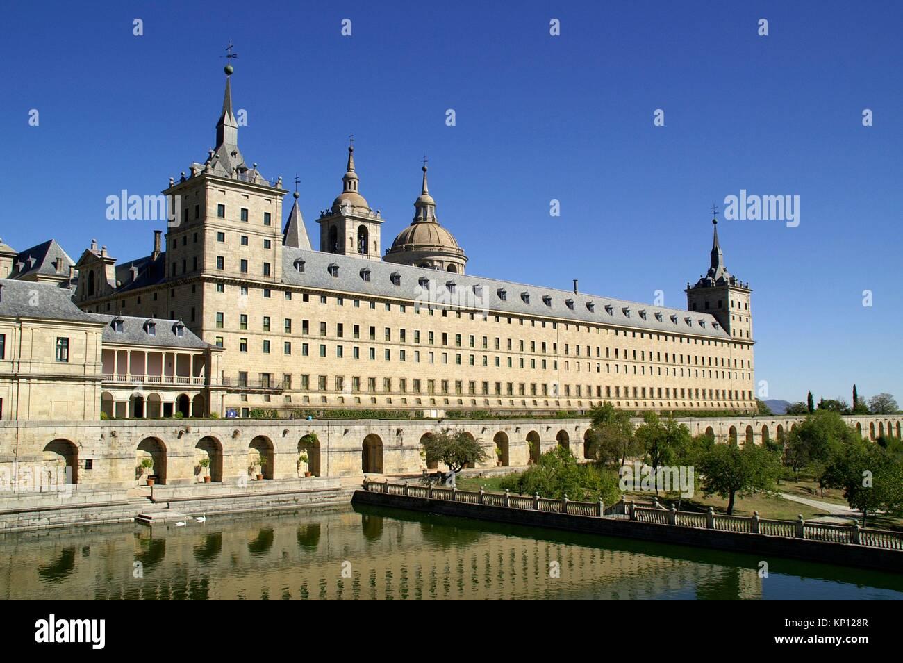 San Lorenzo del Escorial (Madrid) Spain. Front yard of the Monastery of San Lorenzo del Escorial. - Stock Image