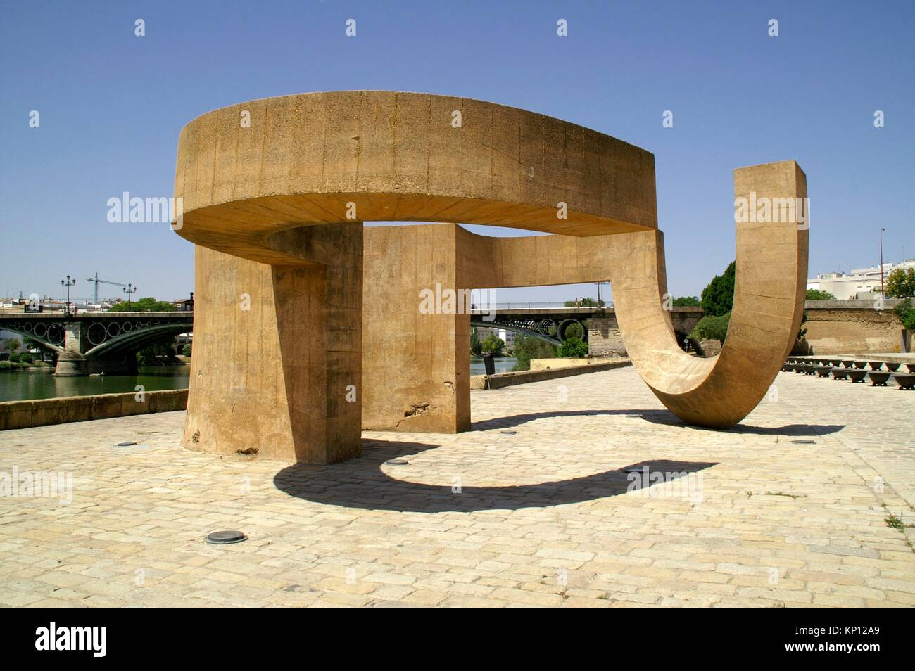 Sevilla (Spain). Monument to the Tolerance of Eduardo Chillida next to the river Guadalquivir in the city of Seville. - Stock Image