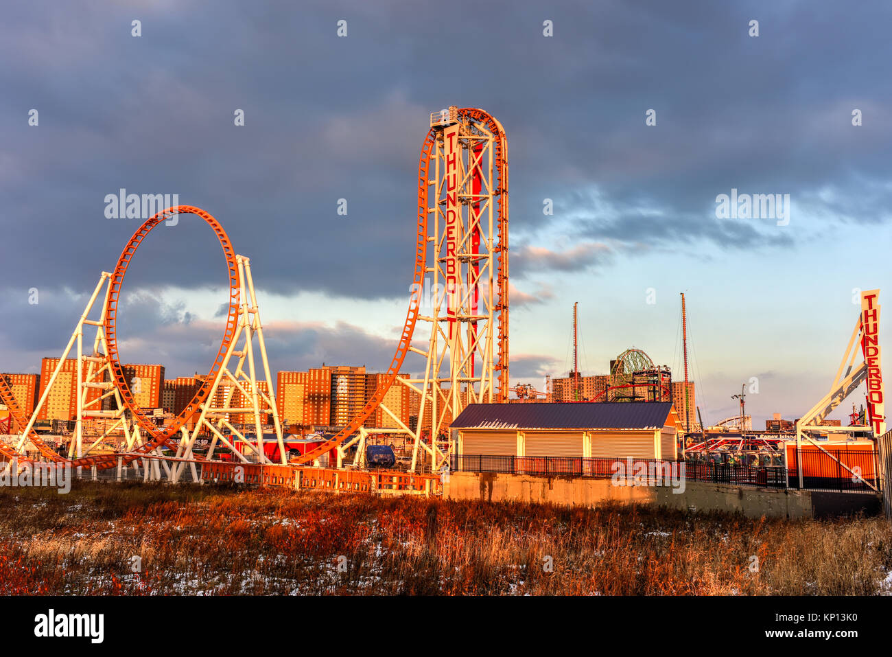 Brooklyn, New York - Dec 10, 2017: Thunderbolt Rollercoaster in Coney Island, Brooklyn, New York City at sunset. - Stock Image