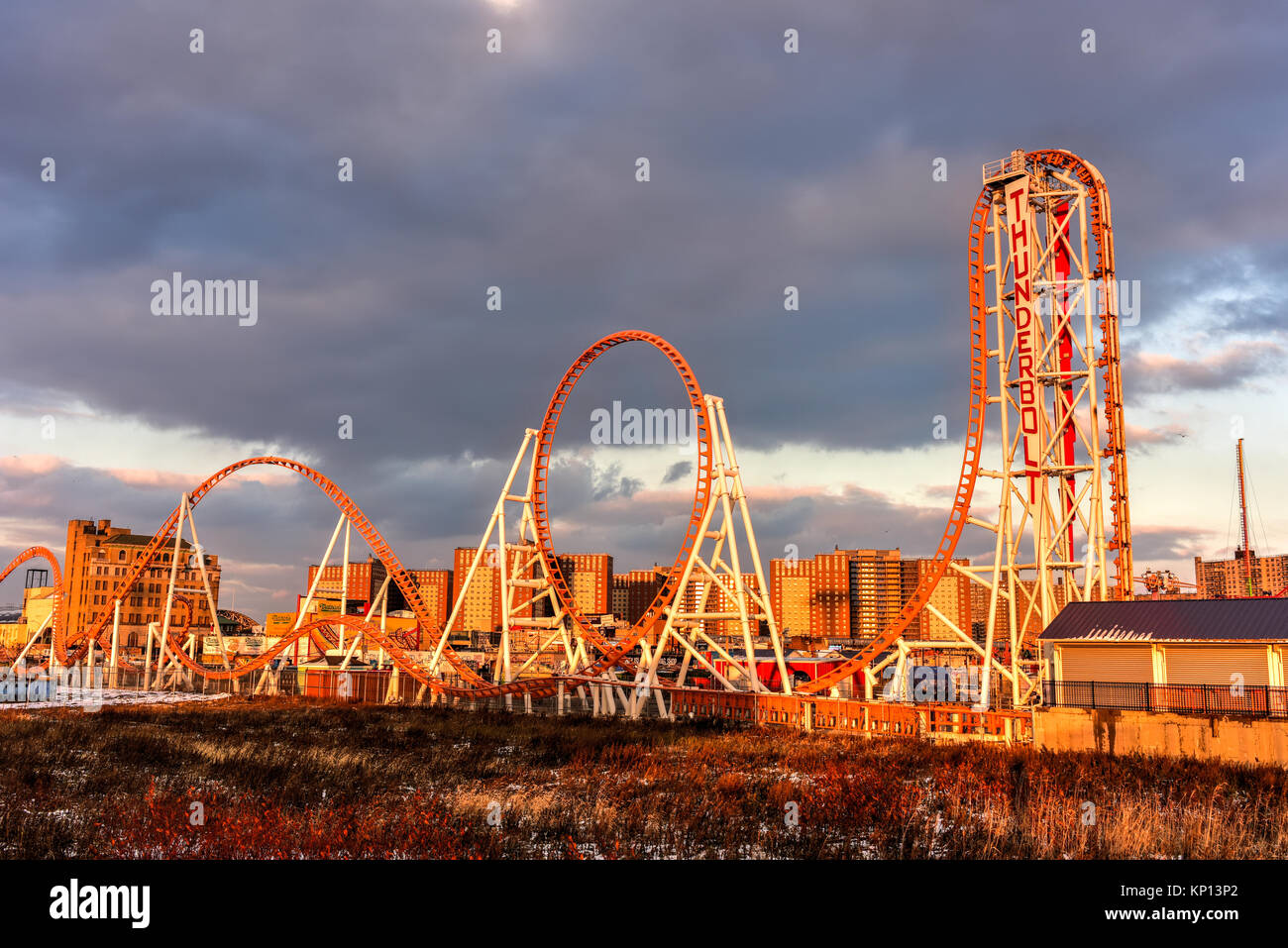 Brooklyn, New York - Dec 10, 2017: Thunderbolt Rollercoaster in Coney Island, Brooklyn, New York City at sunset. Stock Photo