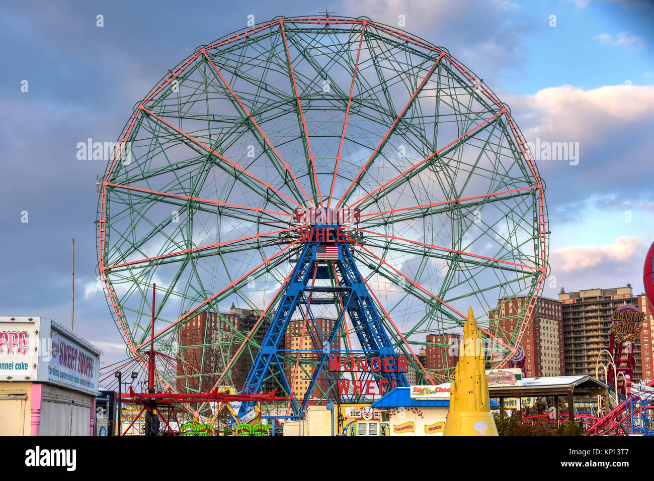 New York City - December 10, 2017: Wonder Wheel in Luna Park. Its an amusement park in Coney Island opened on May - Stock Image