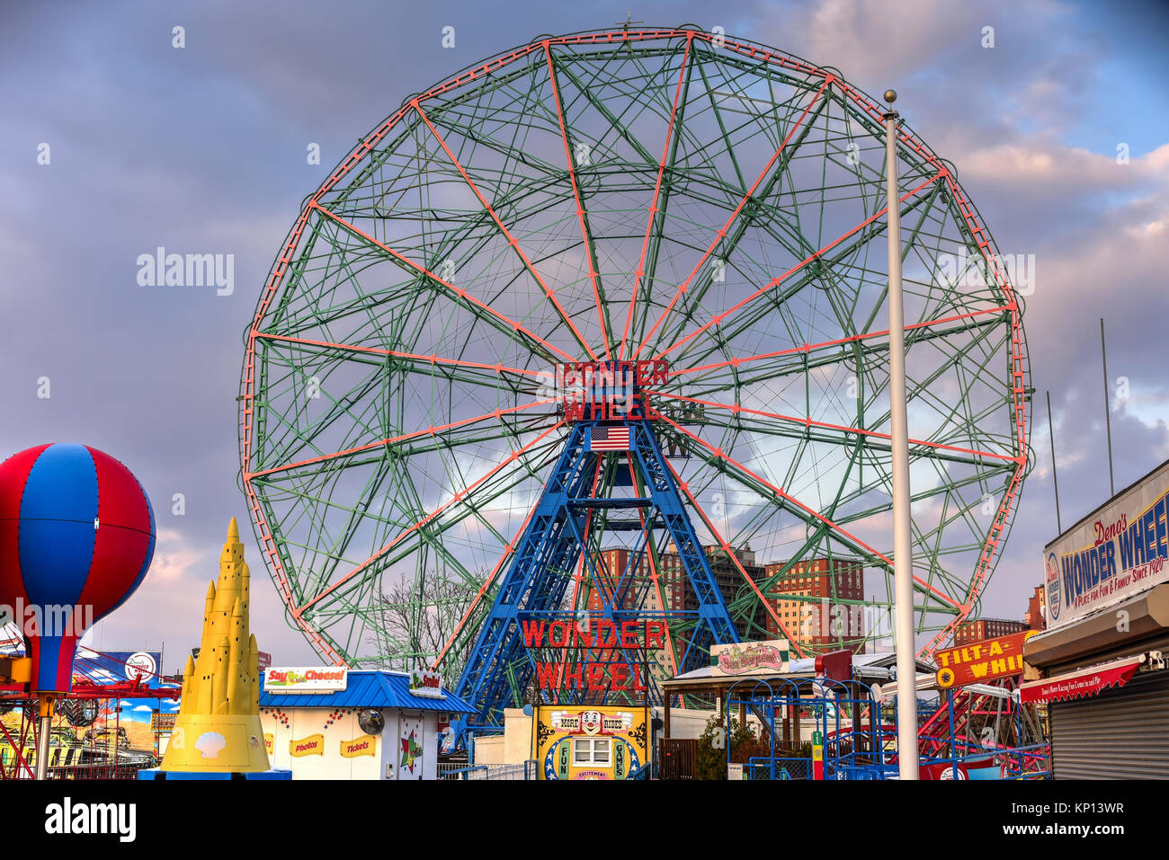 New York City - December 10, 2017: Wonder Wheel in Luna Park. Its an amusement park in Coney Island opened on May Stock Photo