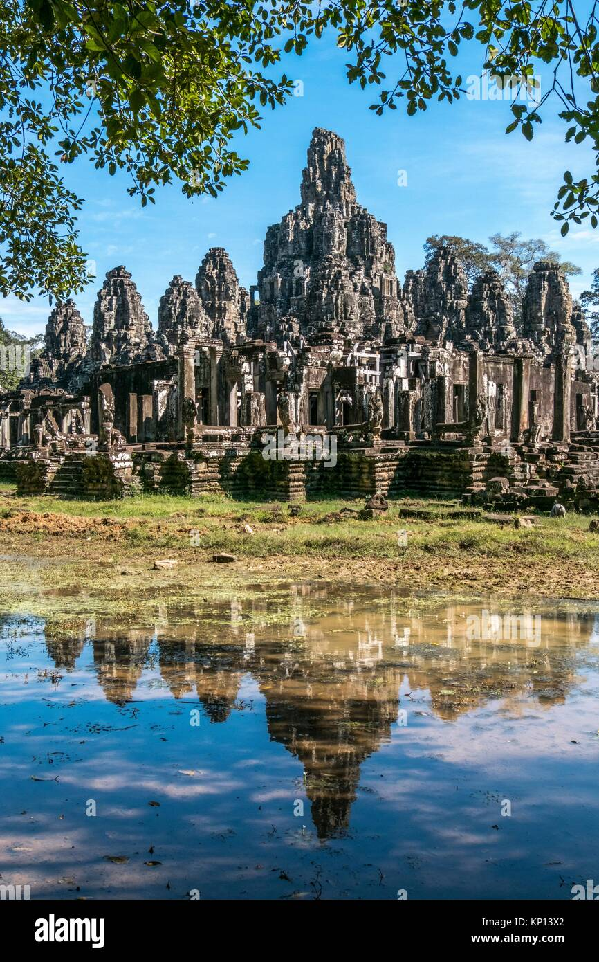 The Bayon at Angkor Thom, the largest Khmer city ever built was the state temple of Jayavarman VII and is a part - Stock Image