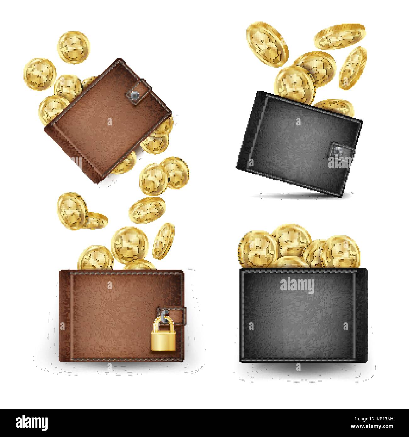 Bitcoin Wallet Set Vector. Bitcoin Gold Coins. Realistic 3d Brown And Black Bitcoin Wallet. Money Front Side. Technology - Stock Image