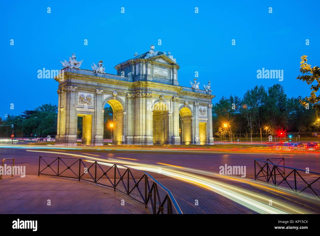 Alcala Gate, night view. Madrid, Spain. Stock Photo