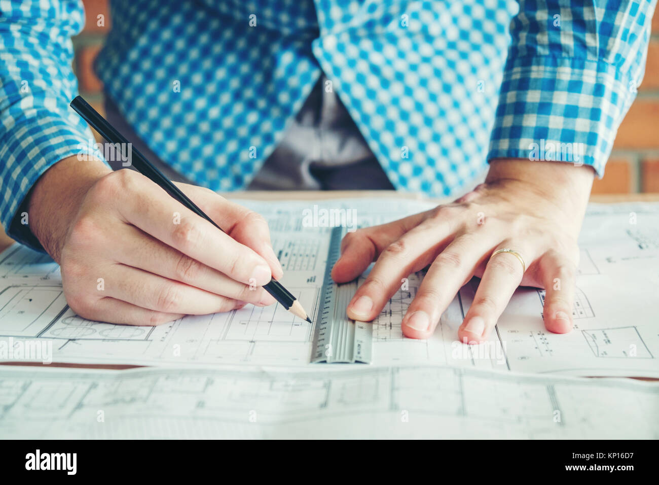 Architect office blueprint computer keyboard stock photos architect or engineer working in office on blueprint architects workplace stock image malvernweather Image collections