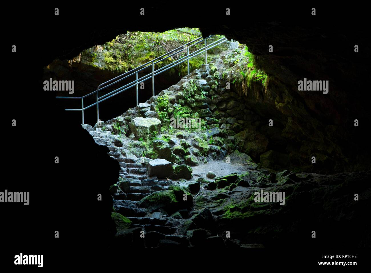 Ape Cave entrance, Mt St Helens National Volcanic Monument, Washington. - Stock Image
