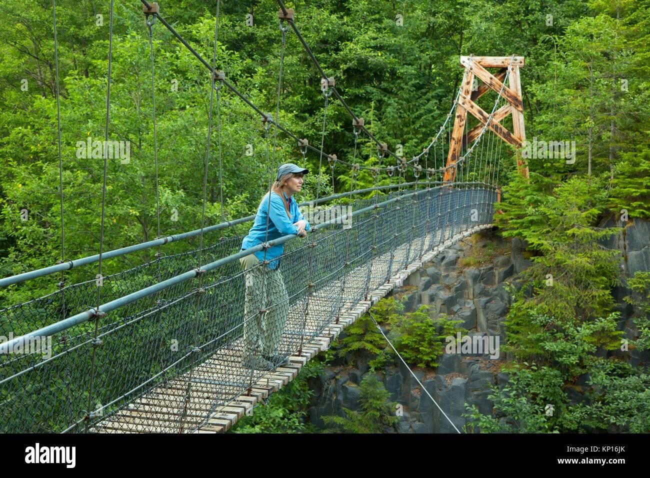 Swinging bridge on Lava Canyon Trail, Mt St Helens National Volcanic Monument, Washington. - Stock Image