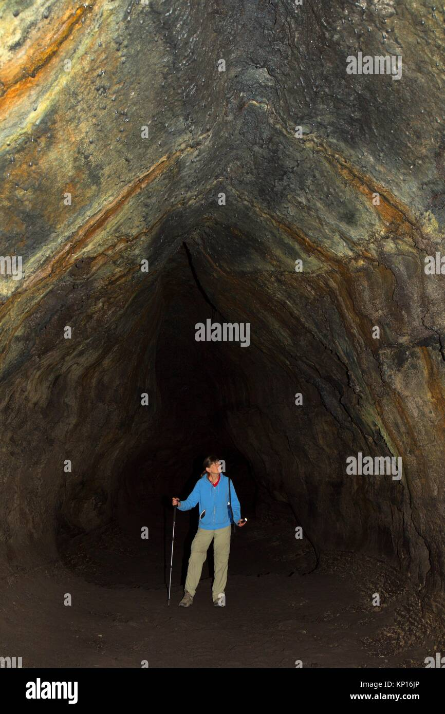 Ape Cave, Mt St Helens National Volcanic Monument, Washington. - Stock Image